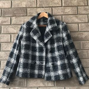 Black and White Plaid Pea Coat
